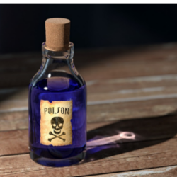 bottle of poison sitting on table
