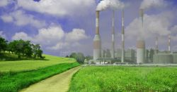 industrial factory creating air pollution in a bright green field on a sunny day