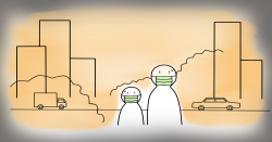 clipart of a city skyline filled with air pollution and two people with masks