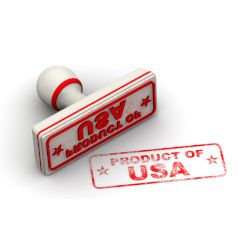 red rubber stamp with words PRODUCT OF USA