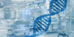 DNA image in front of blurred laboratory equipment with viruses and scientific symbols in the middle ground