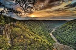 A river in a gorge under a sunset in West Virginia