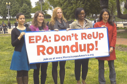 activists holding EPA: Don't Re-Up Roundup! banner