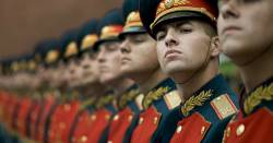 Russian Honor Guard soldiers in military formation