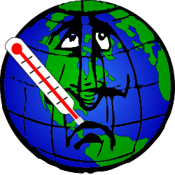 Sad cartoon of sick planet Earth