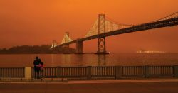 San Francisco colored orange from fires.