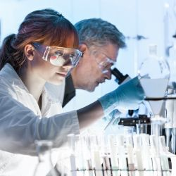 two scientists in a laboratory researching and preparing microscope slides