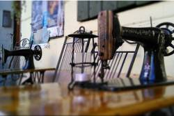 Sewing machines in a factory setting