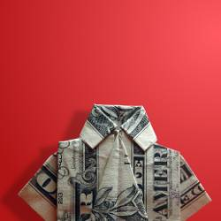 Origami dress shirt folded out of a US dollar bill