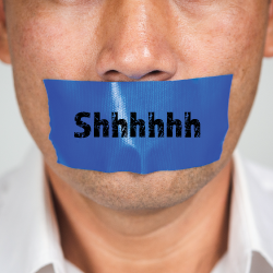 mouth with duct tape saying shhh over it