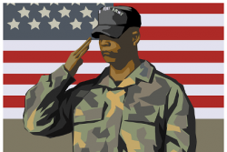 Soldier saluting in front of an American flag