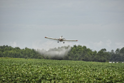Crop Duster Spraying Crops with Herbicides