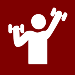 Sign with a silhouette of a person lifting weights