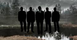 silhouette of businessmen standing in a swamp surrounded by mist