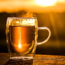 steam rising from a glass mug of tea at sunset