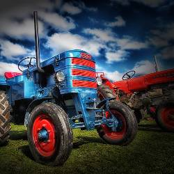 Blue tractor on a farm