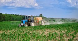 tractor in a farm field spraying a pesticide on crops
