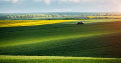 tractor on a farm spraying pesticides on a crop field