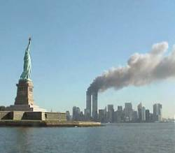 Twin towers after the 9/11 attack