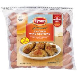 bag of Tyson brand chicken wings