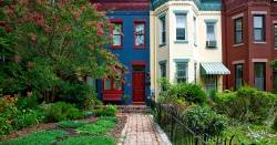Town houses in Washington DC with large garden lawns