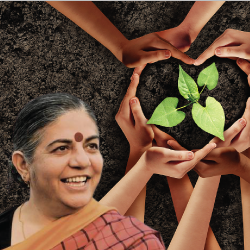Dr Vandana Shiva near a seedling plant surrounded by hands
