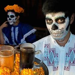 People serving beverages in Day of the Dead dress