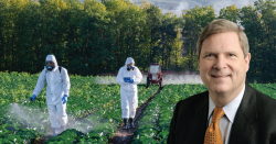 Tom Vilsack in front of a field being sprayed with pesticides.