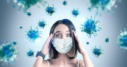 woman in a mask anxious by the virus surrounding her