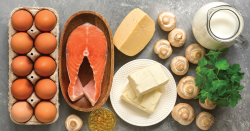 Salmon and other foods with vitamin D.
