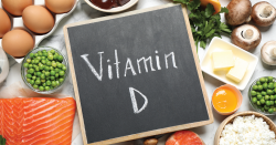 Vitamin D sign in front of foods.