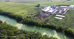 polluted river below a factory farm