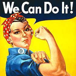 Rosie the Riveter flexing muscle with the text WE CAN DO IT