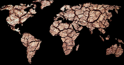 map of the worlds continents with dry cracked ground