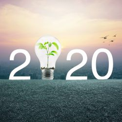 2020 with a light bulb and plant over a field of grass in front of a city scape
