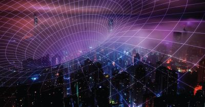 5G network and a city.
