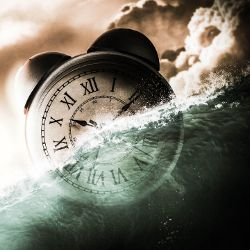 alarm clock drowning in a storm at sea