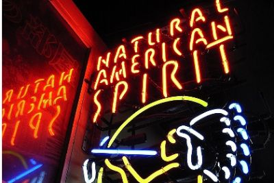 Neon sign advertisement for American Spirit cigarettes