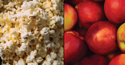 Apples and popcorn.