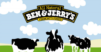 Ben and Jerry's logo with cows grazing