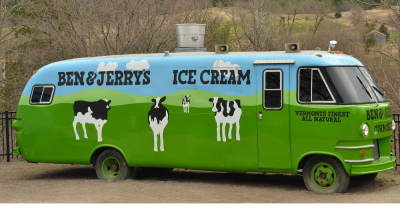 Green ice cream truck from Ben & Jerry's
