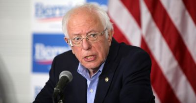 Bernie Sanders speaks to the media during a press conference at Valley High School in Santa Ana, California during a rally