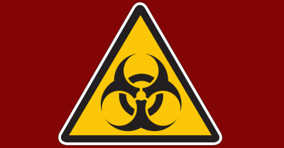 yellow biohazard sign on red background