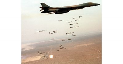 Bombs being dropped from a jet