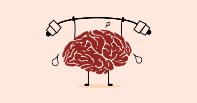 clipart of a brain lifting weights for fitness and health