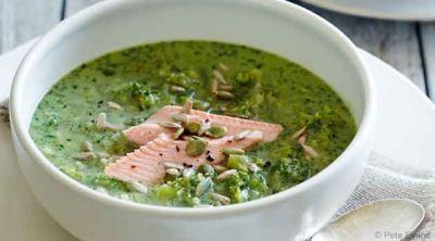 broccoli, trout, rosemary ketogenic soup