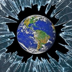 planet earth surrounded by shards of broken glass