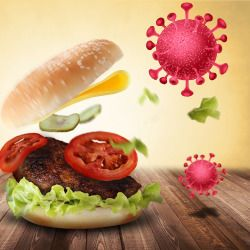 exploding hamburger surrounded by coronavirus cells