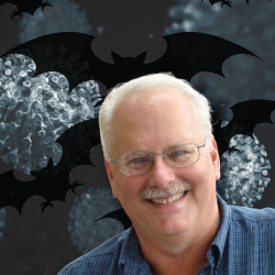 Face of Coronavirus hunter Ralph Baric with bat images in background