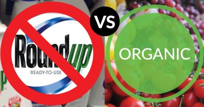 A split image with Monsanto's Roundup on the left with a ban sign over it and a photo of fruits and vegetables on the right
